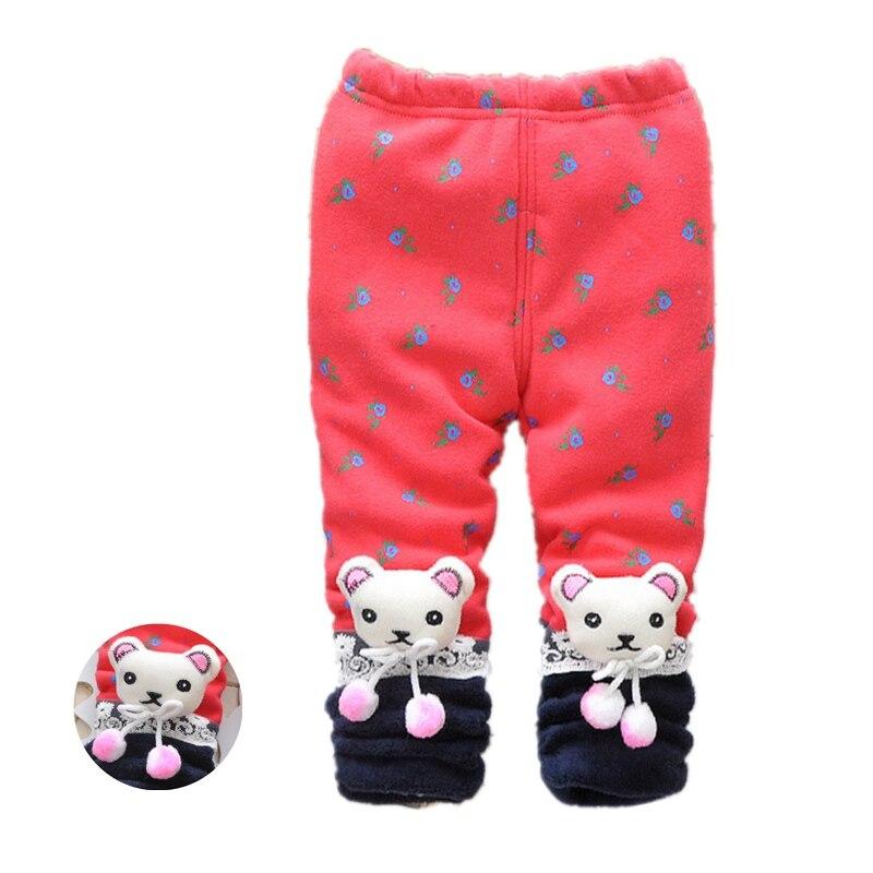 Baby Girls Winter Leggings Thick Velvet Warm Pants Trousers For Toddler Baby Floral Print Kids Girls