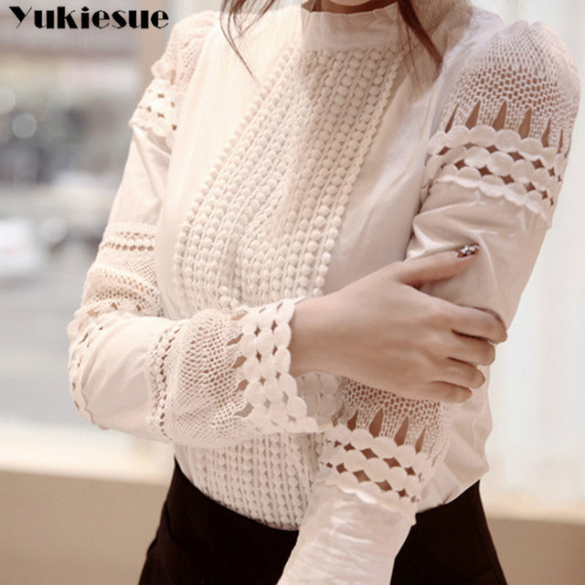 New Women Blouses Slim Bottoming Long-sleeved White Shirt Lace Hook Flower Hollow Plus Size S-5XL 3