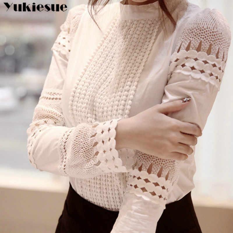 新しい女性ブラウススリム底長袖白シャツレースフック花中空プラスサイズ S-5XL