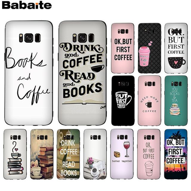 US $0 87 18% OFF|Babaite Books And Coffee Luxury Soft Rubber Black Phone  Case For GALAXY s5 s6 edge plus s7 edge s8 plus s9 plus-in Half-wrapped  Case