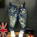 Nueva Primavera Otoño Niños Pantalones para Niñas Boy Diseño Ropa Niños Niñas Niños Jeans Vaqueros de pintura en aerosol