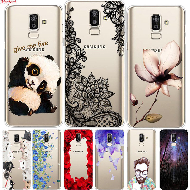 For Samsung Galaxy J8 2018 case 6.0 J810F Phone Cases soft TPU cute panda flowers animal print transprent cover for Samsung On8
