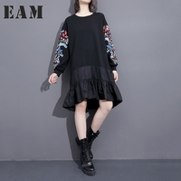 EAM 2017 New Autumn Round Neck Long Sleeve Embroidery Black Split Joint Loose Big Size
