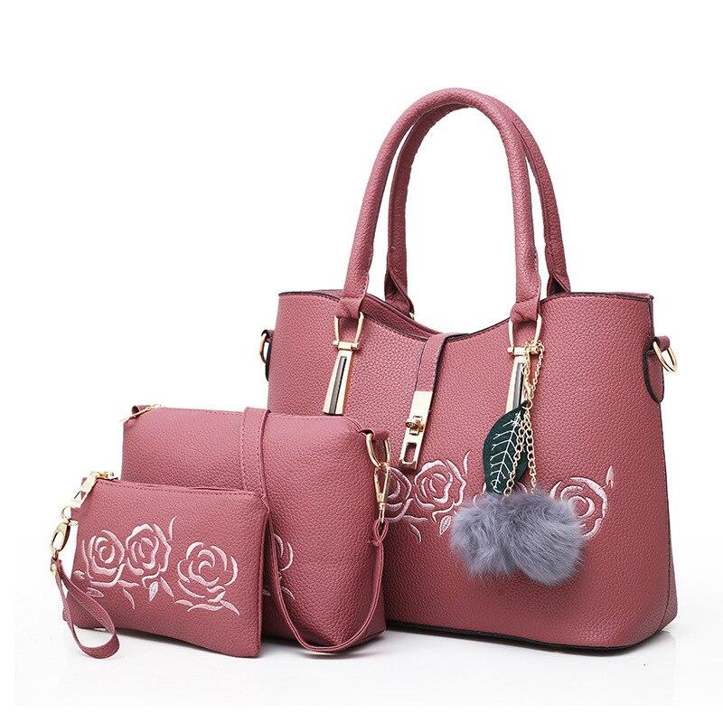 2018 new female bag Women Handbag composite package 3 pcs/set printing embroidery flower Single Shoulder Bag Satchel2018 new female bag Women Handbag composite package 3 pcs/set printing embroidery flower Single Shoulder Bag Satchel