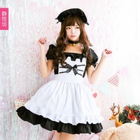Free shipping 2019 Black and white cat maid lolita outfit lolita dress dress cos ladies cosplay Japanese maid outfit