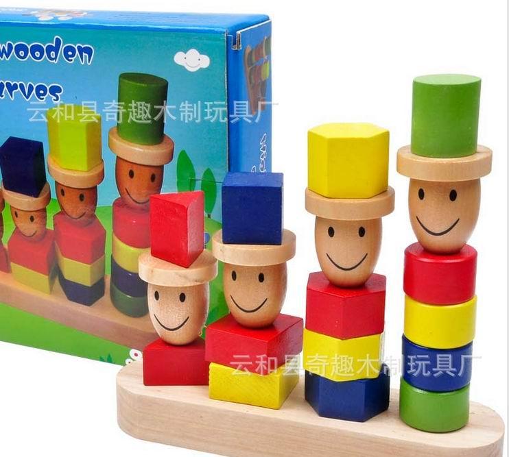 Barn trä tecknad dvärgar block leksaker / multicolor geometriska montering block för Kids Child lärande och pedagogiska leksaker