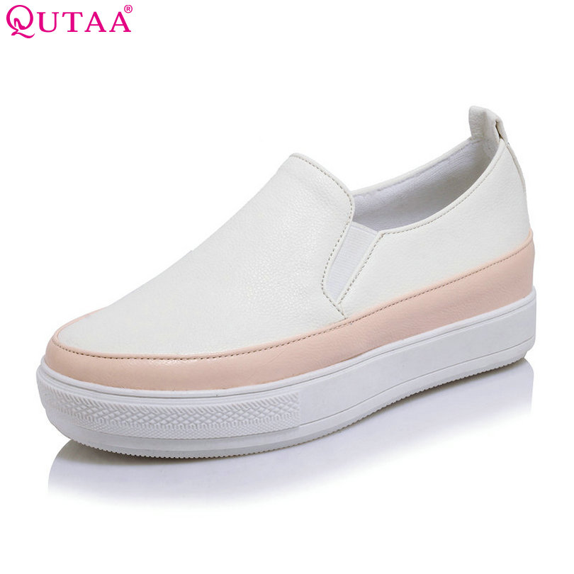 QUTAA 2018 Women Pumps Fashion Woman Shoes Platform Wedge Med Heel PU leather Slip On Ladies Casual Pumps Size 34-43 nayiduyun women genuine leather wedge high heel pumps platform creepers round toe slip on casual shoes boots wedge sneakers