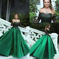 Vestido de noche de encaje negro y verde esmeralda, elegante, largo, cuello de barco, manga larga, Formal, para fiesta