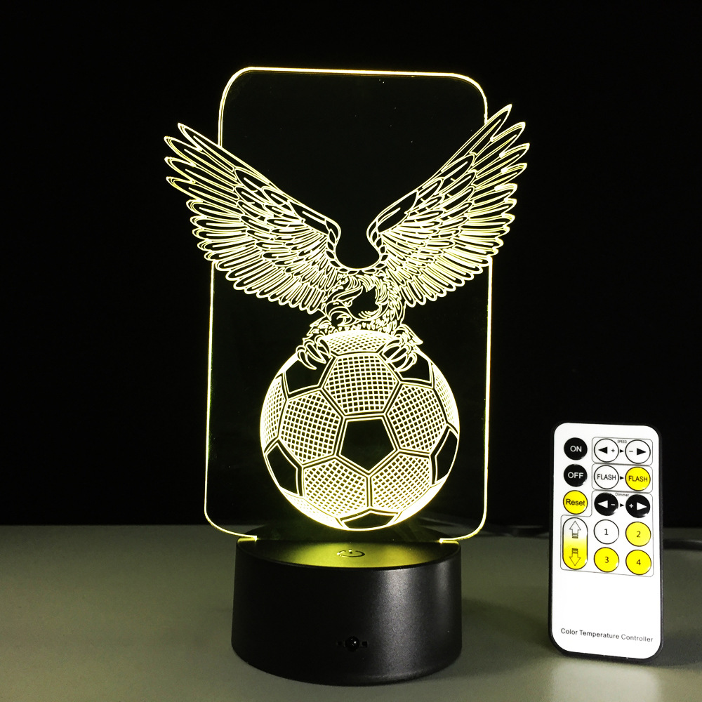 Football Eagle Wings 7 Colors Change USB Night Lamp LED 3D Table Light for Bedroom Sleeping Home Bar Desk Decor Kids Boys Gifts creative tractor 3d visual lamp 7 colors changing acrylic car night light for children bedroom home xmas gifts desk lighting