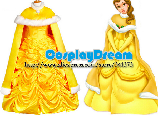 Beauty and the Beast Belle Cosplay Costume Gown Princess Dress With Cape  for Women Custom Made Halloween Belle Princess Costume 65796371df1f