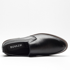 Image 3 - BUVAZIK Brand Leather Concise Men Business Dress Pointy Black Shoes Breathable Formal Wedding Basic Shoes Men