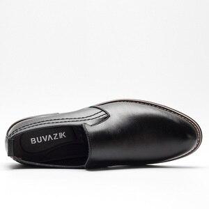 Image 3 - BUVAZIK Marka Deri Muhtasar Erkekler İş Elbise Sivri siyah ayakkabı Nefes Resmi Düğün Temel Ayakkabı Erkekler