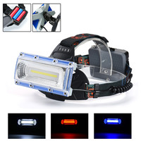 Bicycle Accessories Bike Flashlight Headlamp High Power COB Led White Blue Red Light Headlight 3 Mode