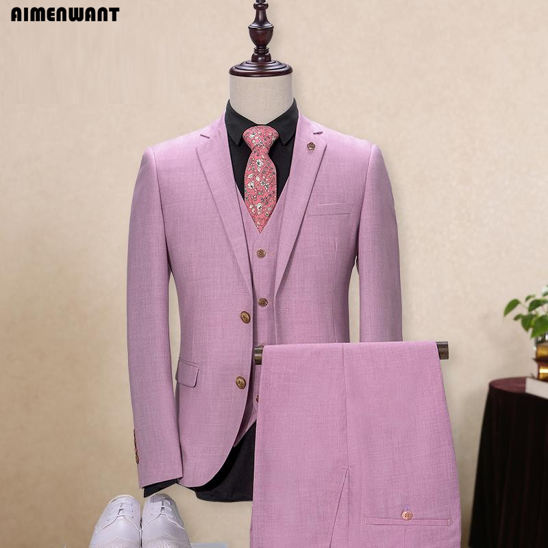 AIMENWANT 2017 Fashion Pink Purple Single Breasted Suit For Men Size Custom Made Personal Size Fitted Jacket+Pants+Vest 3pcs Set