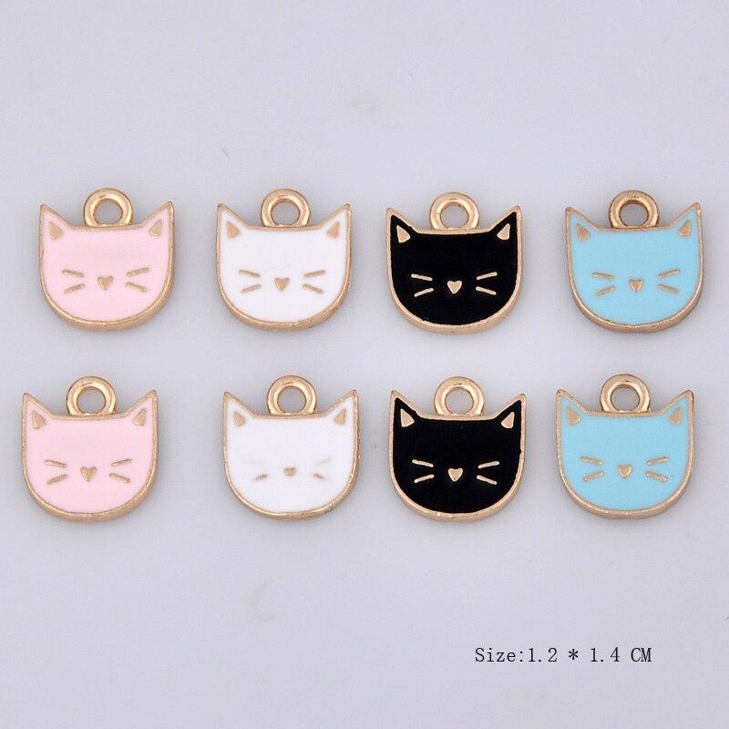10 Stücke 12*14mm Diy Mode Legierung Emaille Haustier Katze Kopf Kätzchen Charme, Metall Tier Anhänger Halskette Armband Legierung Haar Zubehör