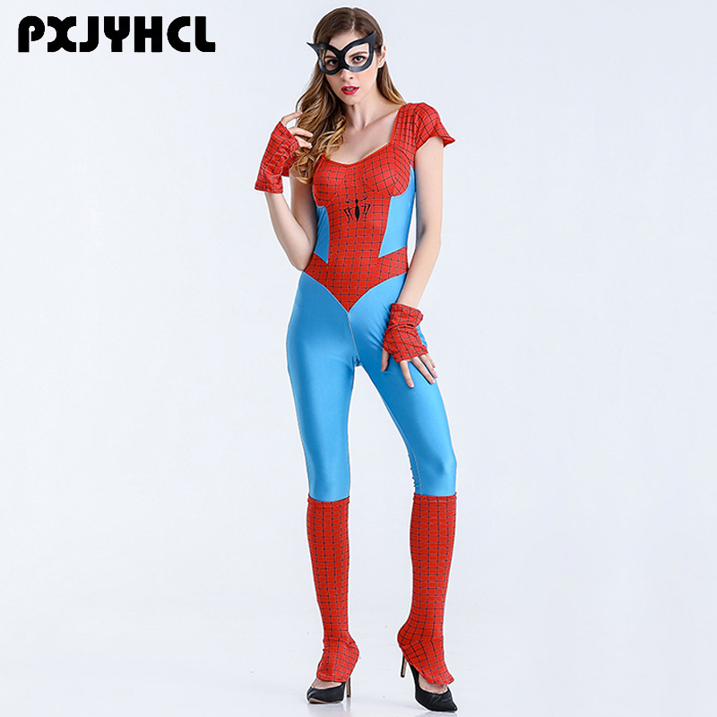 Halloween Spiderman Leotard Costume For Women Sexy Fantasia Anime Cosplay Super Hero Spider Superwomen Fancy Outfits Jumpsuits