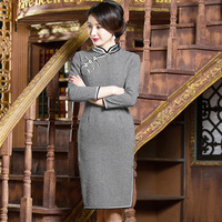 YZ Black White Novelty Woolen Plaid Sexy Short Cheongsam Vintage Women Traditional Chinese Dress Lady Elegant