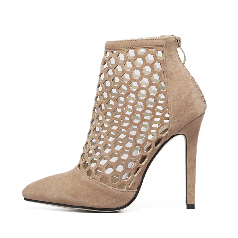 2017 New Fashion Pointed Toe Ankle Back Zipper High Heels Booties Women Shoes Suede Sexy Pumps Zapatos Mujer Black Beige US5~8.5