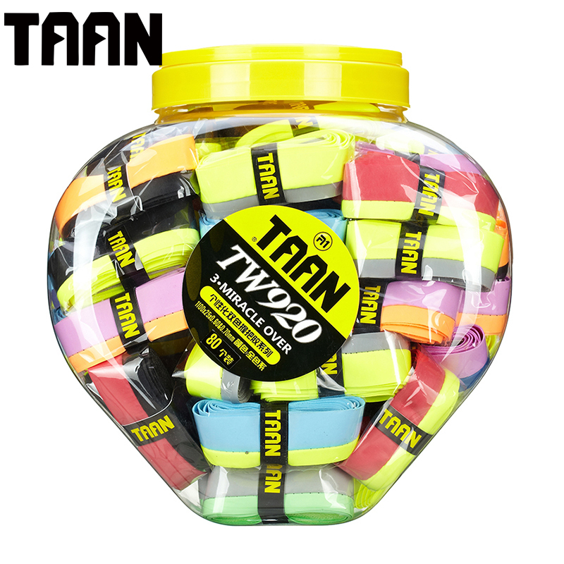 (80pcs/bottle)TAAN TW920 Breathable Tennis Racket Overgrip double color bright Badminton Racket Sweat Overgrip for Sport Racket