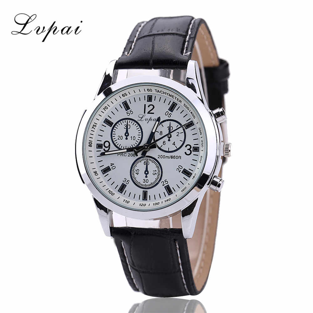 Casual Leather Band Wristwatch Mens Round Dial  Quartz Analog Wrist Watches Three Eyes Dials Adjustable Band Clock Gift For Men
