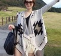 New 2016 Fashion Capes For Women Korean Tassel Batwing Sleeve Irregular Patchwork Knitted Cardigans Sweaters Coat Free Shipping