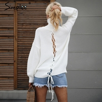 Simplee Sexy Lace Up Knitted Turtleneck Sweater Women Hollow Out White Long Sleeve Pullover Autumn Winter