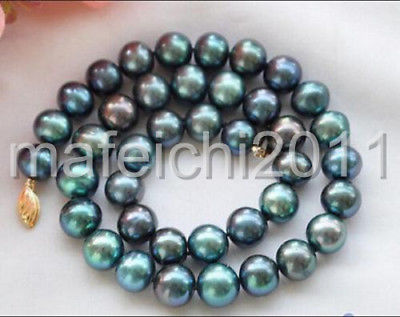 New 10-11mm PEACOCK BLACK ROUND Freshwater cultured PEARL NECKLACE 18inch New 10-11mm PEACOCK BLACK ROUND Freshwater cultured PEARL NECKLACE 18inch