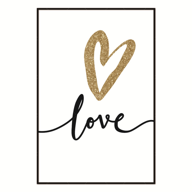 Aliexpress.com : Buy Nordic Abstract Golden Black Love Letter Canvas ...