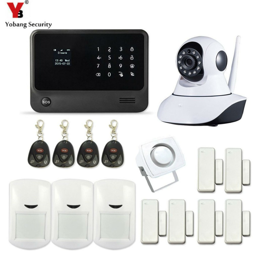 YobangSecurity Android IOS APP Home Safety WI FI GSM Security Alarm System with IP Camera PIR Door Alarm Sensor yobangsecurity 2016 wifi gsm gprs home security alarm system with ip camera app control wired siren pir door alarm sensor