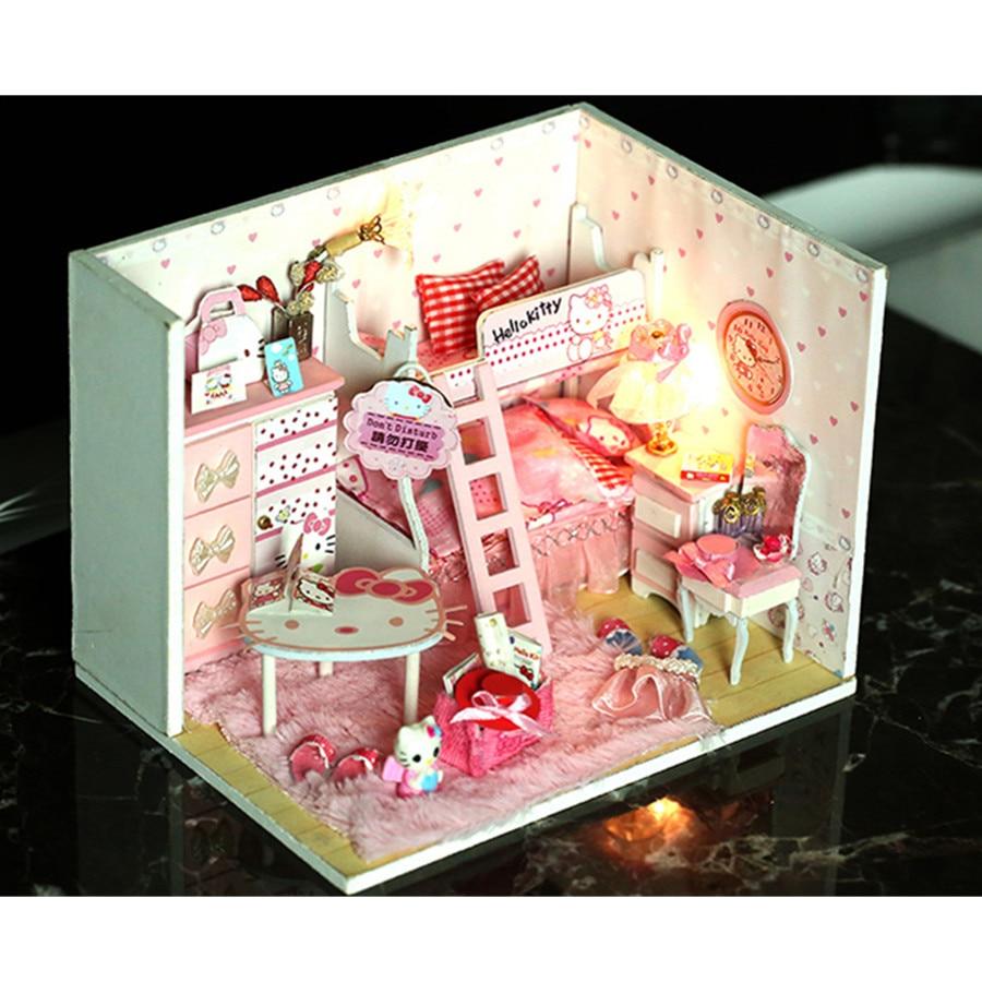 Handmade 3d Wooden Doll House Diy Furnitures Assembling