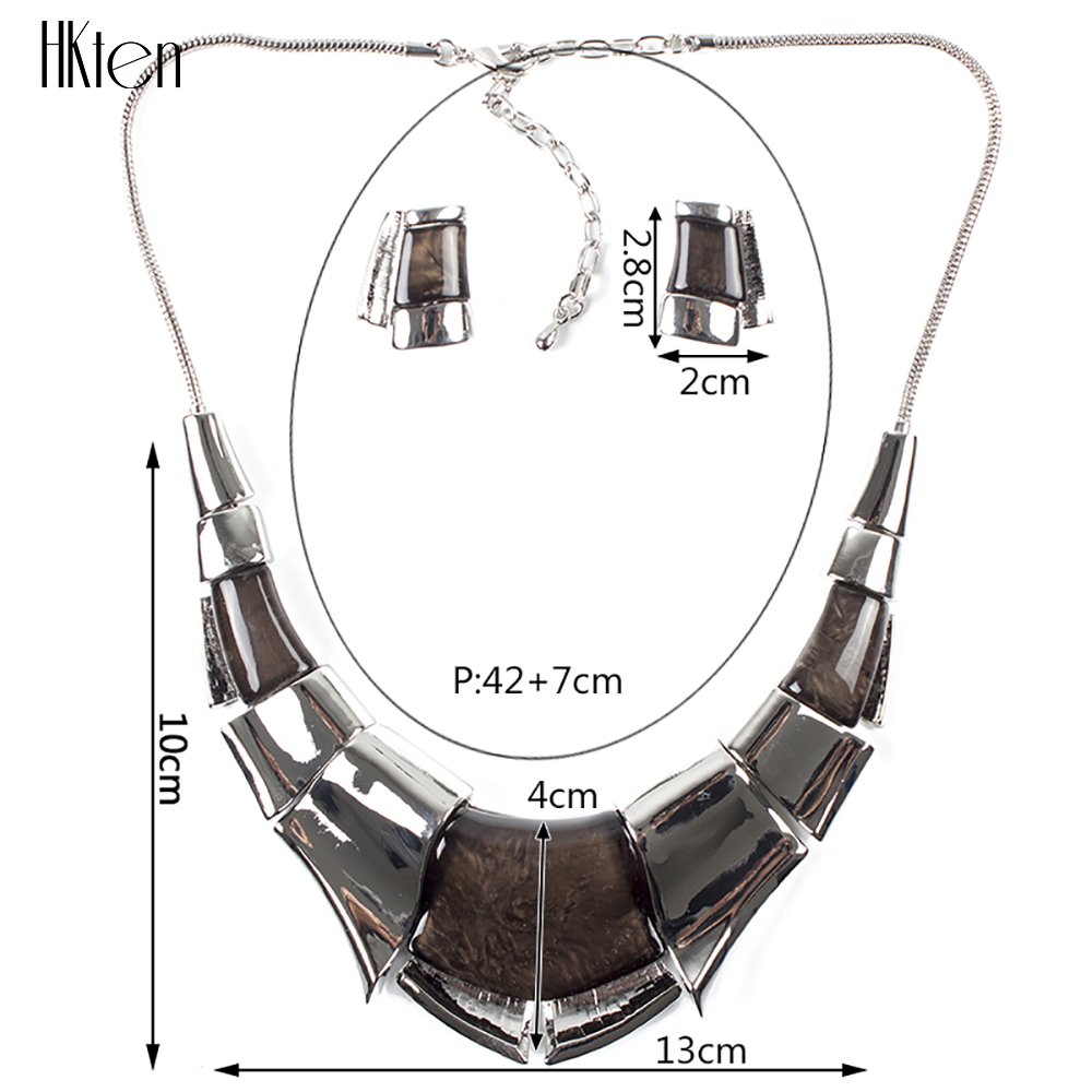 MS1504102 Fashion Brand Jewelry Sets Antique Silver Plated Grey Charms High Quality Woman's Necklace Earring Set Bridal Jewelry