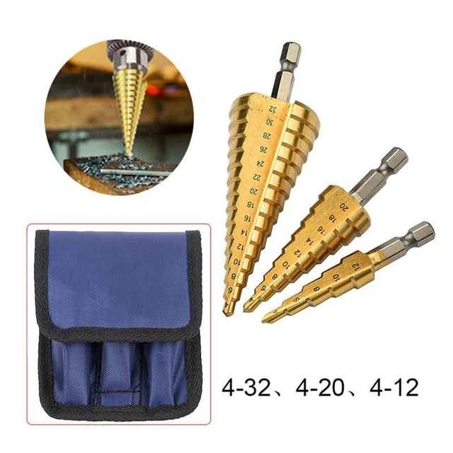 3 pcs HSS פלדת טיטניום מקדחי שלב 3-12mm 4-12mm 4-20mm שלב קונוס חיתוך פלדת כלים נגרות עץ מתכת קידוח סט