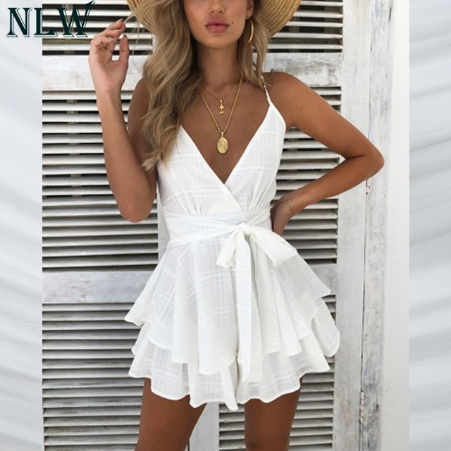 NLW White Ruffle Plaid Jumpsuits Rompers Spaghetti Strap Cross Back Bow Tie Waist Skorts Playsuit Girl Summer Beach Overalls 2