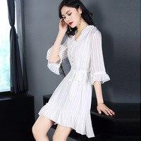 Новое лето 2018 В получили пять розовый платье из двух частей с длинными рукавами бантом striped A Line Китай белый и розовый