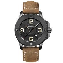 Parnis Commander Seriers Luminous Mens Sapphire Glass Leather Watchband Military Sport Automatic Mechanical Watch Wristwatch