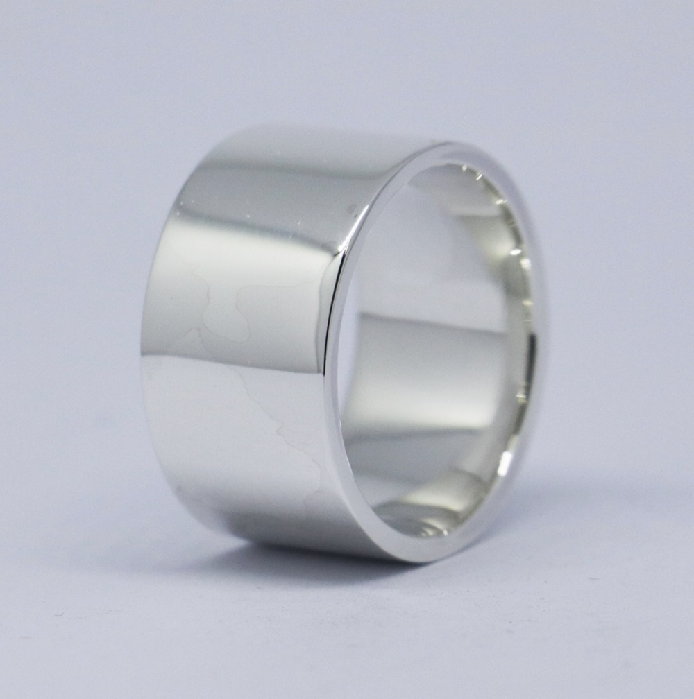 Wellmade 12mm Solid 925 Sterling Silver Plain Band Ring недорого