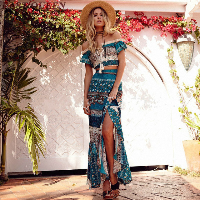 ecbca92659 Summer holiday women two piece set boho chic style crop top and skirt set  off shoulder crop top+long skirts for woman NN0726 CQ