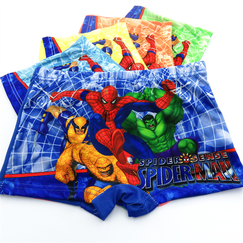 5pcs/lot Cool Boys Underwear Movie Comic Boxers Underpants SuperHero Spiderman kids   Panties   Under wear briefs for 2-12 Y   panty