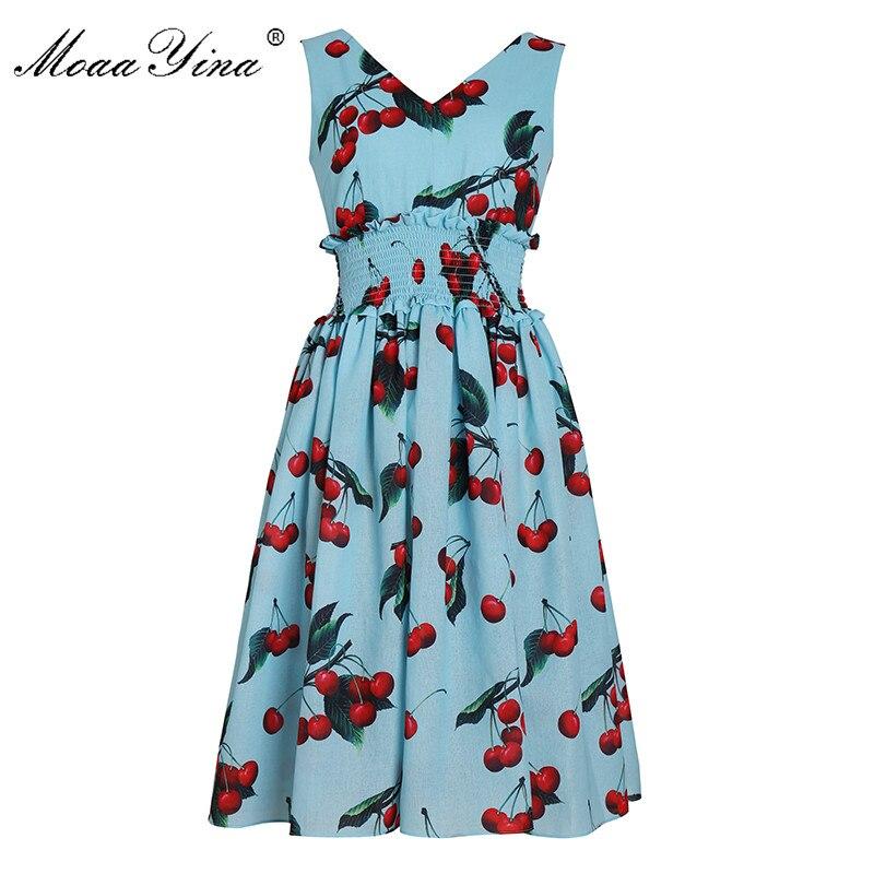 MoaaYina Fashion Designer Runway dress Spring Summer Women Dress V neck Cherry Print Elastic waist Elegant