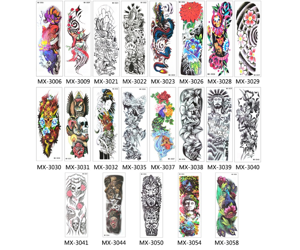 Image 4 - 50pcs Wholesale Bulk Order Full Arm Tattoo Sleeve Temporary Tattoo Stickers Tatoo Hundred Designs Body Art for Women Men 2019-in Temporary Tattoos from Beauty & Health