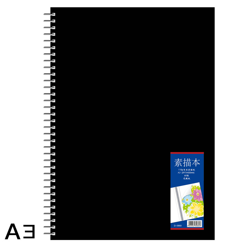 Blank A3 sketchbook pro Drawing Graffiti Spiral sketch book 60 sheets Paper PP cover Office School Supplies Gift a5 blank sketchbook diary drawing graffiti painting kraft sketch book 80 sheets spiral notebook paper office school supplies