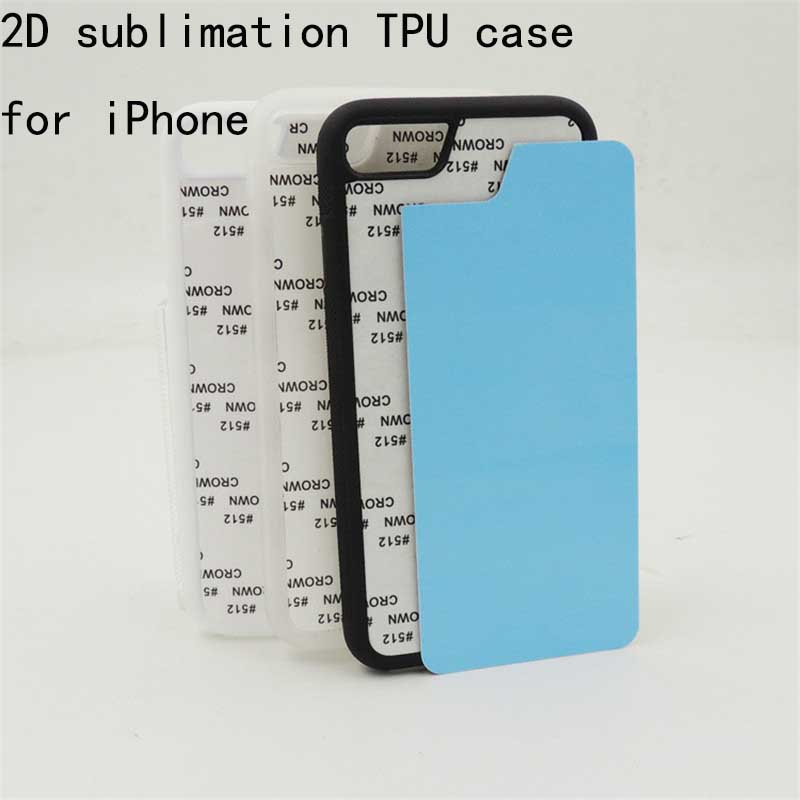 2D Sublimation Case For iPhone X 6S 6 7 8 Plus 5 5S SE TPU+PC Blank Printed Cover with Aluminum Metal Sheet 10pcs