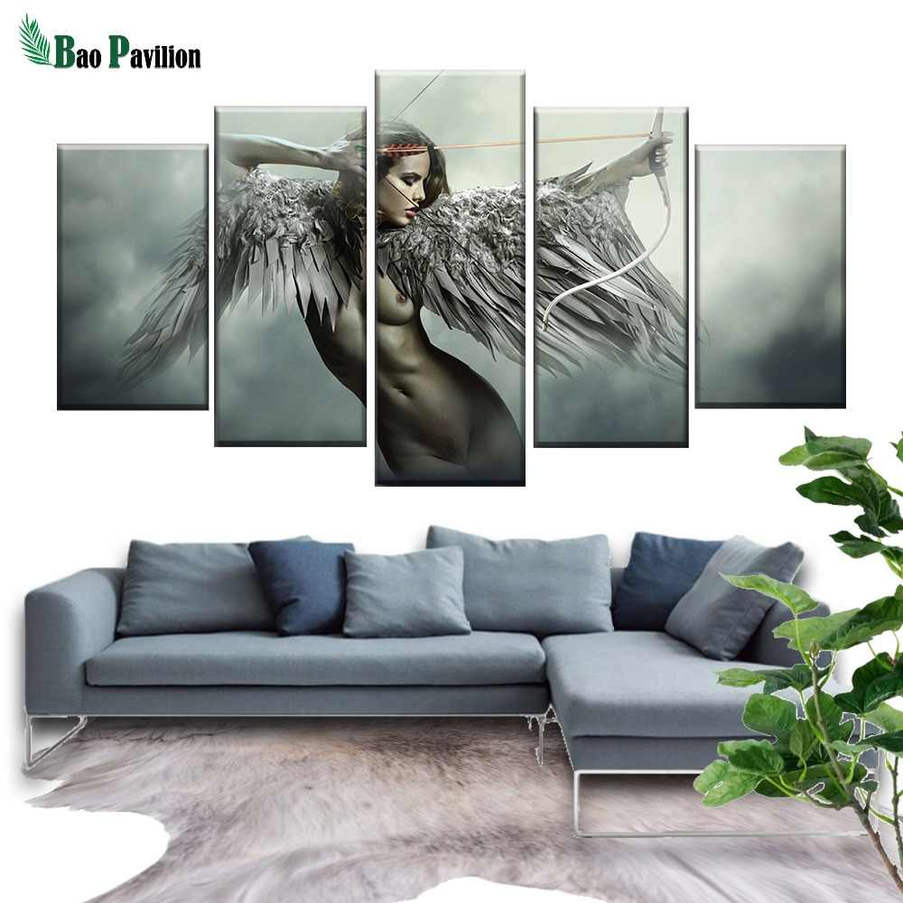 Canvas HD Prints Wall Art Pictures 5 Pieces Sets Fantasy Angel Warrior Wing Paintings Home Decor Anime Girl Posters Framework