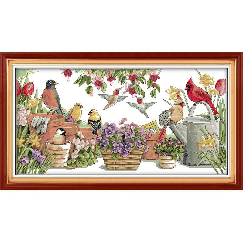 Everlasting love Christmas Birds gather in garden Ecological cotton Chinese cross stitch kits 11&14 CT New store sales promotion
