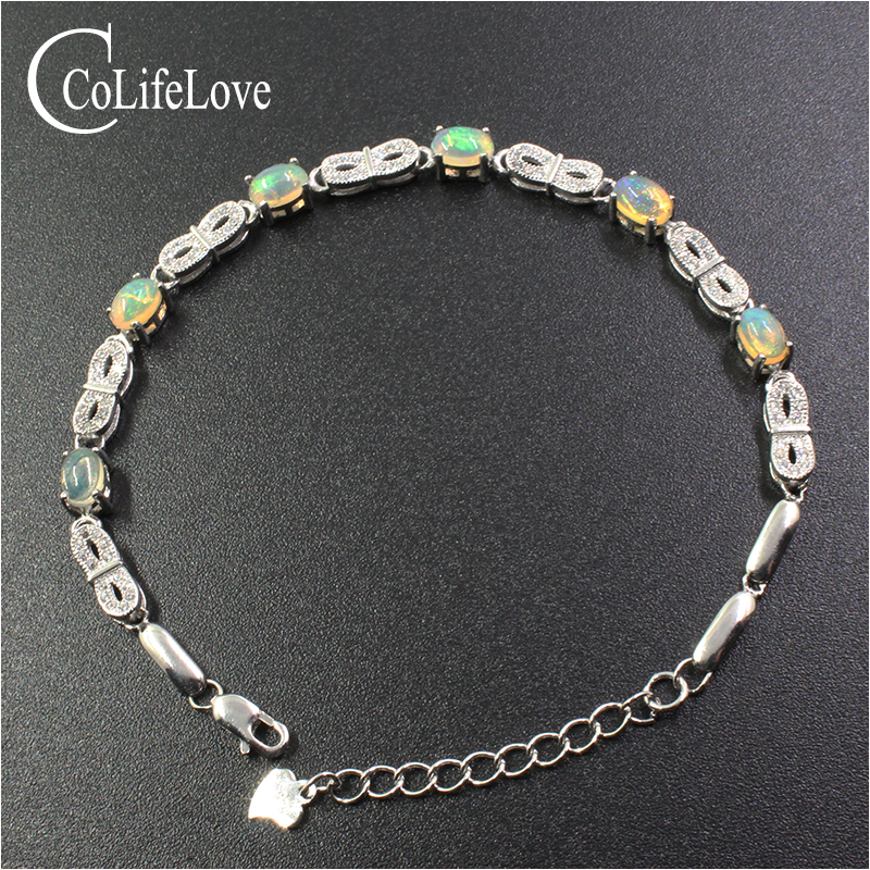 цена Fashion 925 silver opal bracelet 6 pcs natural opal silver bracelet for party solid 925 silver opal jewelry