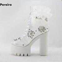 Модные босоножки, весна прозрачная обувь толстый высокий каблук platform5 7cm кристалл женщина насосы цветок emblished белой пряжи женские туфли лодо