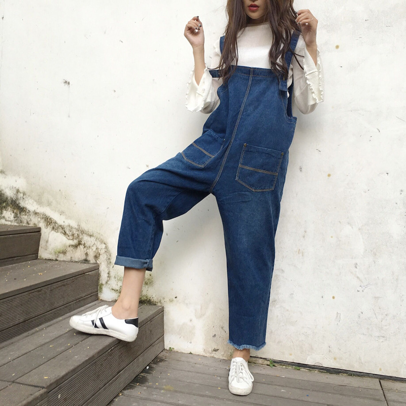 SWYIVY Women Jean Ankle Length Pants Overalls 2018 Girl Casual Lose Jumpsuit Trousers Big Pocket Fashion Denim Rompers Pants