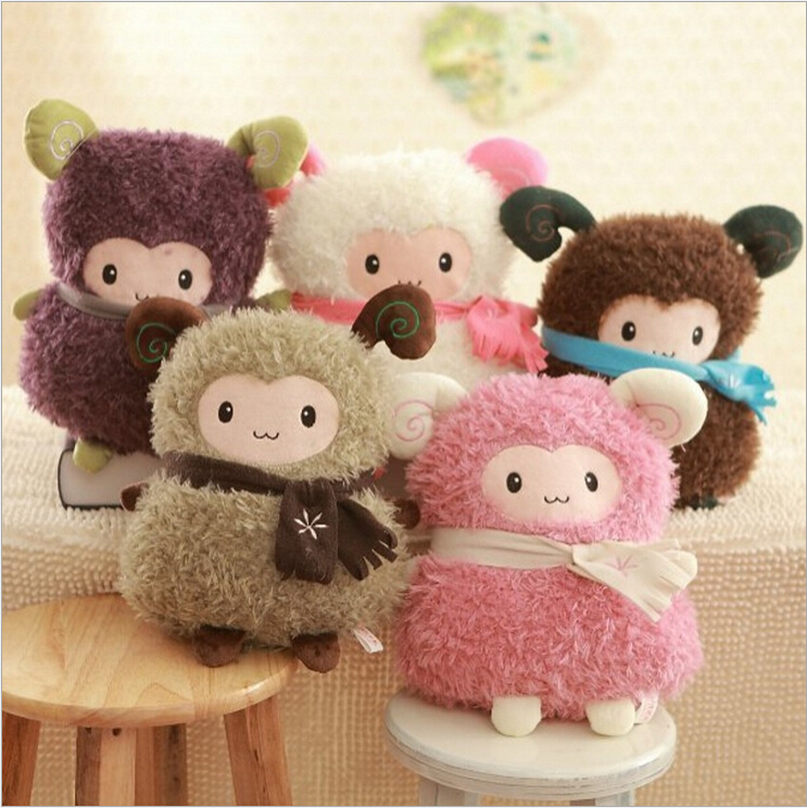 1pcs 35cm 5 colors Cute Stuffed Plush Toy Toot Sheep Soft Doll With Scarf Toys gift For Girl Free Shipping 1pcs 35cm 5 colors cute stuffed plush toy toot sheep soft doll with scarf toys gift for girl free shipping