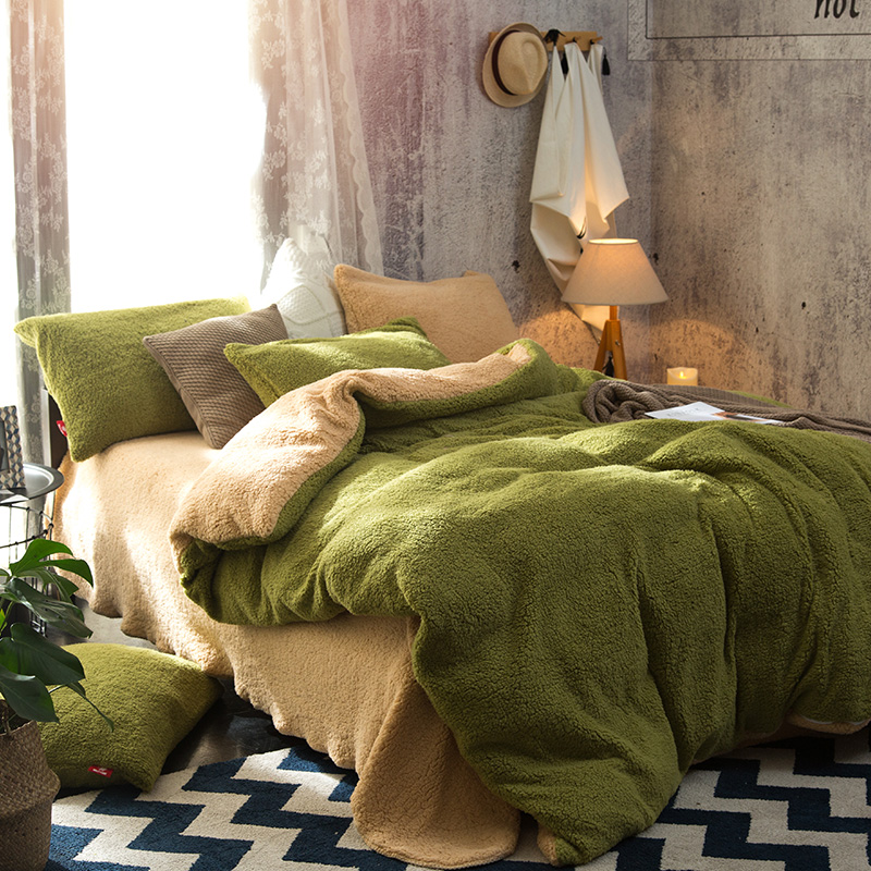 Winter Warm berber Fleece Grün Rosa Lila Braun Einfarbig Bettwäsche Set Fleece Stoff Bettbezug Bett blatt/Leinen kissenbezüge-in Bettwäsche-Sets aus Heim und Garten bei  Gruppe 1