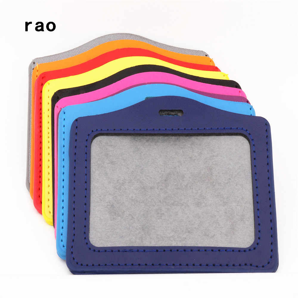 Luxury quality 617 PU Leather material card sleeve sets ID Badge Case Clear Bank Credit Card Badge Holder School student office